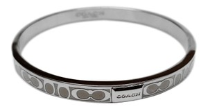 Coach Coach Signature Thin Bangle Bracelet Silver White F96857