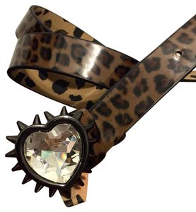 Betsey Johnson Betsey Johnson Rhinestone Crystal Heart Cheetah Vinyl Belt