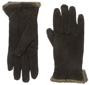 Isotoner Dark Brown Suede Gathered Wrist Microluxe Lined Womens Gloves M