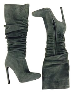 Jeffrey Campbell Suede Knee High Pointed Toe Grey Boots