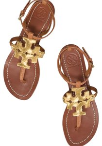 bb3530502769 Tory Burch Royal Tan and Gold Chandler Flat Sandals Size US 9 ...