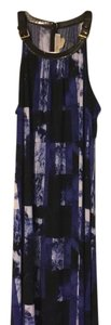 Black, Amalfi Blue, And White ... Leather And Gold Fixtures Maxi Dress by Michael Kors