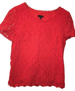 Talbots Lace Top Red-Orange