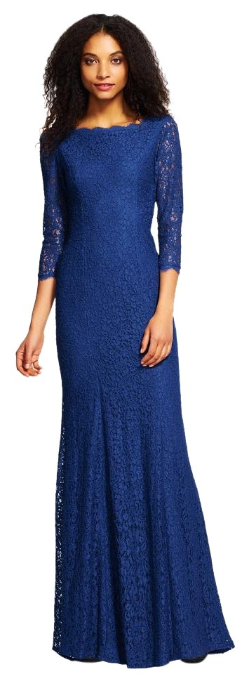 Adrianna Papell Royal Blue 3/4 Sleeve Scalloped Lace Gown Long ...