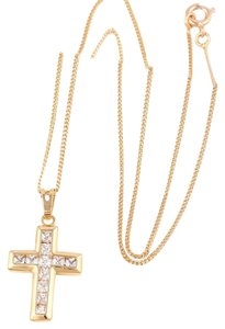 18k Gold PVD Plated Micro Diamond Cross Necklace Chain Pendant