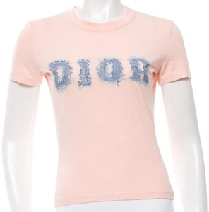 Dior Monogram Logo Print Shortsleeve Cotton T Shirt Pink, Blue