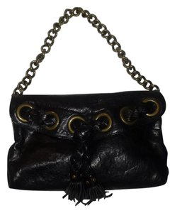 Kooba Thick Brass Chain Giant Grommets Distressed Leather Shoulder Bag
