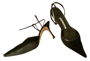Manolo Blahnik Manolo Suede Strappy Heels Black Formal