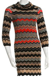 Missoni short dress Brown, Beige, Black, Red Knit Striped Chevron V-neck on Tradesy