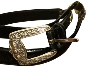 Fossil Fossil Large Black Leather And Metal Vintage Belt