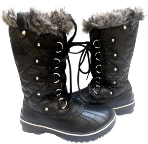 Sorel Faux-fur Collar Rubber Faux Fur Lining Textile And Leather Black Boots