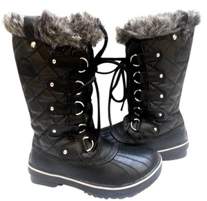 Sorel Faux-fur Collar Rubber Faux Fur Lining Textile And Leather Black canvas Boots