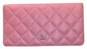 Chanel Chanel Lambskin Quilted Yen Wallet Rose