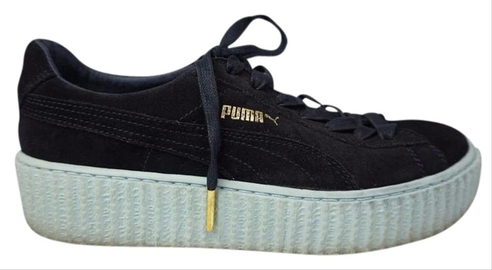 Puma Black Fenty By Rihanna Women s Creeper Sneakers Suede Peacoat Blue  Flats 8363eeac0