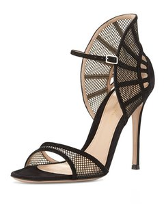 Gianvito Rossi Caged Mesh Suede Pumps Heels Black Sandals