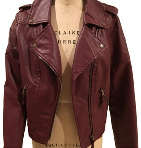 American Eagle Outfitters Burgandy Leather Jacket