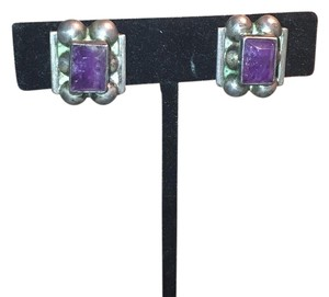 Antique Silver Amethyst Centerstone 100 Year Old Amethyst Screwback Silver Earrings
