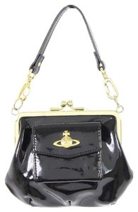 Vivienne Westwood Patent Leather Vintage Black and Gold Clutch