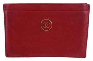Chanel Chanel Red Leather Cc Credit Card Holder Max059312