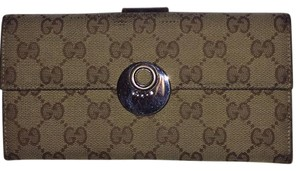 Gucci Gucci GG canvas and leather long wallet in brown