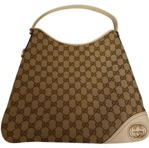 Gucci Monogram Gold Hardware Canvas Hobo Bag