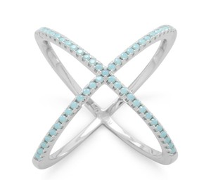 La Bella Rose .925 Sterling Silver Turquoise CZ Criss Cross X Ring - 83655