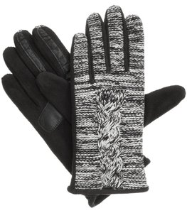 Isotoner Black Marled Cable Fleece smarTouch THERMAflex Gloves M L