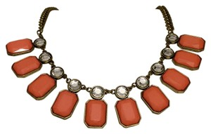 J.Crew J Crew Pink Stone Heavy Flat Chain Collar Necklace