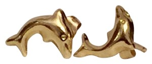 14k Solid Yellow Gold Dolphin Stud Earrings Butterfly Closure
