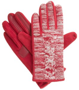 Isotoner Red Marled Cable Fleece smarTouch THERMAflex Gloves XL