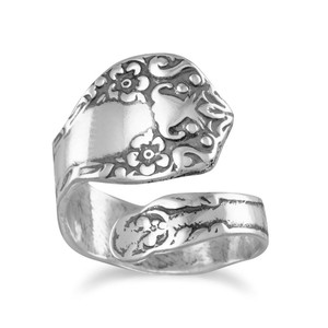 La Bella Rose Adjustable .925 Sterling Silver Floral Spoon Ring - 8380