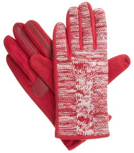 Isotoner Red Marled Cable Fleece smarTouch THERMAflex Gloves M L