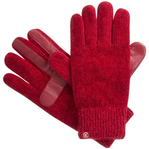 Isotoner Red Chenille Knit smarTouch Lined Womens Gloves One Size