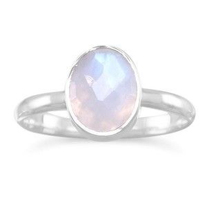 La Bella Rose .925 Sterling Silver Rainbow Moonstone Stackable Ring - 83215