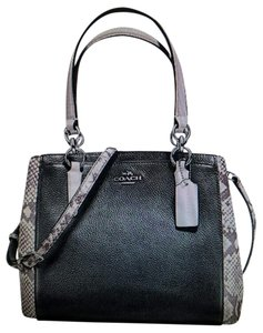 Coach Carryall Minetta Leather Satchel in Black, white, exotic trim