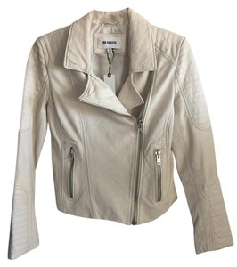 BB Dakota Leather Moto White Leather Jacket