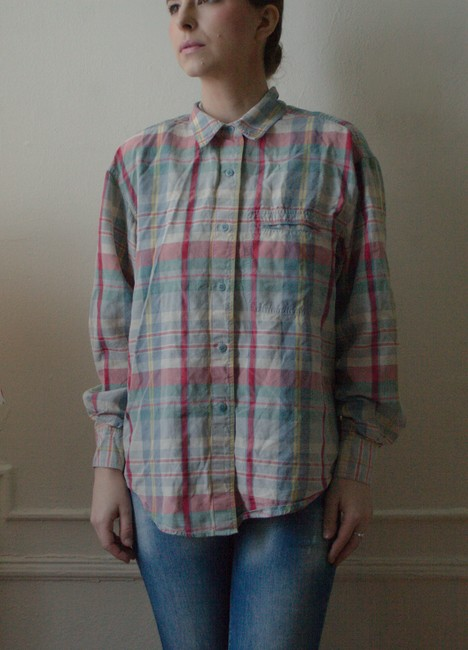 Essendi Vintage 1990s 90s 80s 1980s Silk Hipster Oversized Woven Fall Grunge Summer Longsleeve Long Sleeve Button Down Shirt blue, white, red, pink plaid