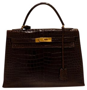 Hermès Crocodile Croc Hermes Kelly Satchel in Chocolate Brown