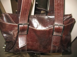 Kenneth Cole Distressed Leather Fall Tote in Brown