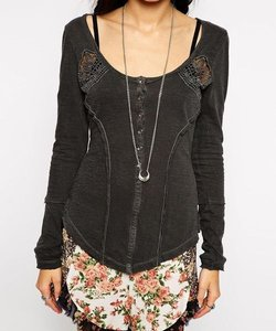 Free People T Shirt Steam Gray
