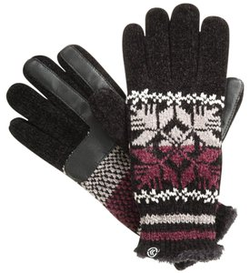 Isotoner Black Split Snowflake Chenille smarTouch Microluxe Gloves One Size