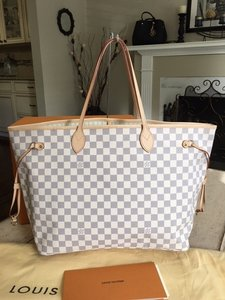 Louis Vuitton Neverfull Damier Azur Shoulder Bag
