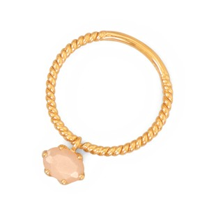 La Bella Rose 14K Gold Sterling Silver Peach Moonstone Charm Ring - 83574
