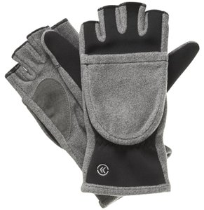 Isotoner Gray Black Hybrid Convertible Fleece Fingerless Gloves One Size