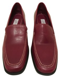 Ann Taylor LOFT Leather Loafers Red Flats