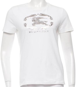 Burberry Nova Check Cotton Monogram Plaid Longsleeve T Shirt White, Silver