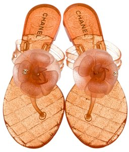 Chanel Jelly Hardware Glitter Orange, Gold Sandals