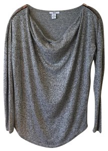 Bar III Zipper Slouchy Comfy Top Grey