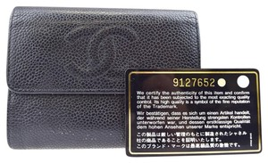 Chanel CC Logos Bifold Wallet Purse Caviar Skin Leather Black Men