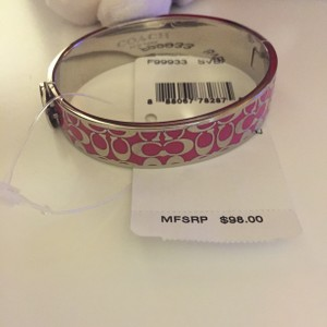 Coach Coach Pink and Silver Clasped Bangle